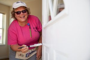 LA VERGNE, TN, USA (6/09/16)- Volunteer Jean Sortino, from Baltimore, MD, paints a door during the 2016 Home Builders Blitz in La Vergne, TN. ©Habitat for Humanity International/Jason Asteros