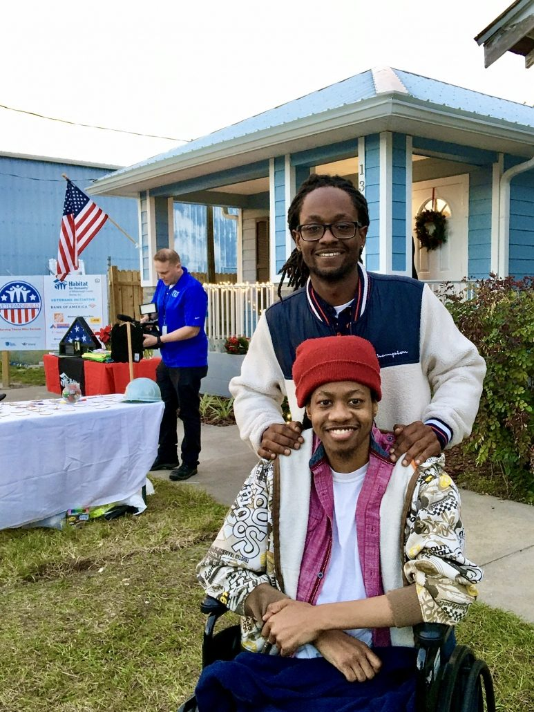 Vincent and Caleb Smith during the dedication of their Habitat Hillsborough Veterans Build home.
